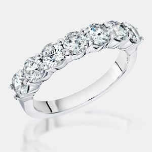 Round 14K Wedding Band. 7 Brilliant Round Cubic Zirconia Stones Prong Set