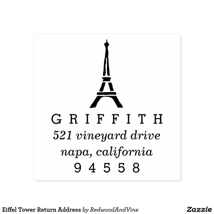 Eiffel Tower Return Address Self-inking Stamp Tres chic! Add a touch of Parisian flair to your correspondence with our Eiffel Tower return address stamp, featuring an Eiffel tower silhouette topping your return address details in classic block and italic lettering.