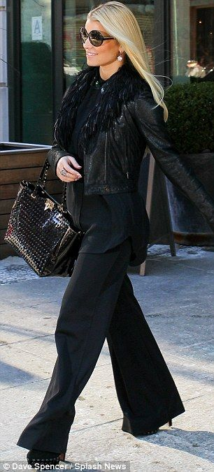 Looking her best: Jess is now tiny, but the all black look really heightens this effect... as do the heels