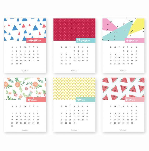 Calendário 2017 para baixar, imprimir gratuitamente - download free - Colorful Disaster