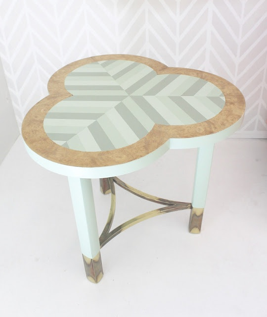 Chevron Painted Clover Table by Genevieve of Turned to Design