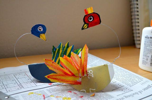 Kinetic Art--rocking birds--Calder with 1st Graders