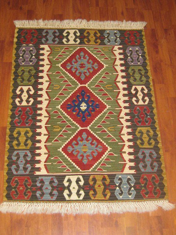 FREE SHIPPING Old Handwoven Turkish Anatolian Wool Kilim Rug by HandcraftMade, $449.00