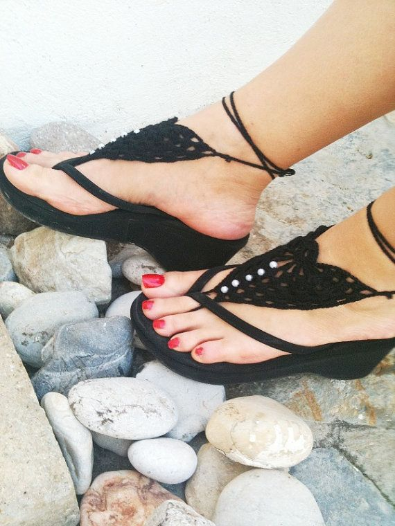 Gothic black   Barefoot Sandals Nude shoes Foot by ArtofAccessory, $15.00