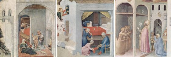 The miracles of Saint Nicolas. He was directly after his birth able to stand up straight (that miracle boy!), gave golden balls as a dowry  and he saved three guys from the innkeeper from hell. Photo: Gentile da Fabriano, c. 1425.