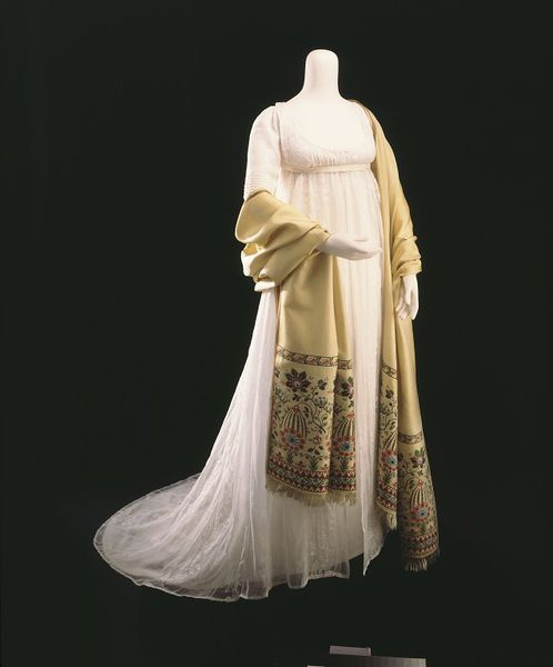 1800 Muslin gown embroidered in cotton thread | V&A Museum | T.770-1913 Shawl of silk twill with brocaded pattern woven in silk T.213-1996