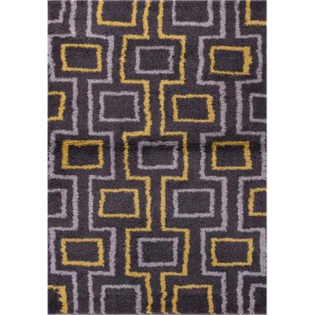 Well Woven Madison Shag Prism Place Modern Area Rug, Grey Gold, Gray
