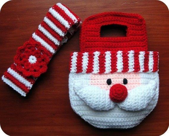 Santa Crochet Pattern Christmas Purse Bag and Striped Headband with Flower