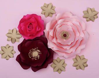 Decoración de muro medianero de telón de fondo de flores de papel de oro rosa