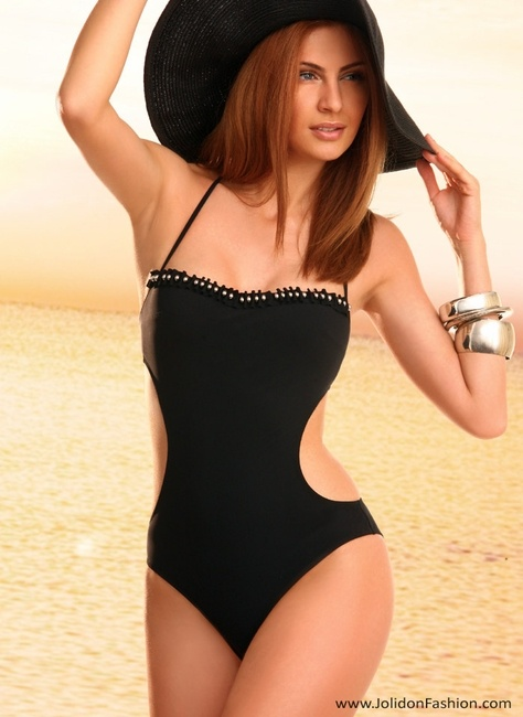 Black strapless one piece