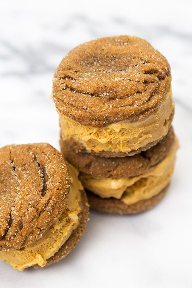 These pumpkin ice cream sandwiches are made with homemade ginger snap cookies. So delish!