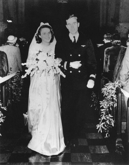 Future US President George H.W. Bush and Barbara Bush on their wedding day in Rye New York. Jan. 6 1945.