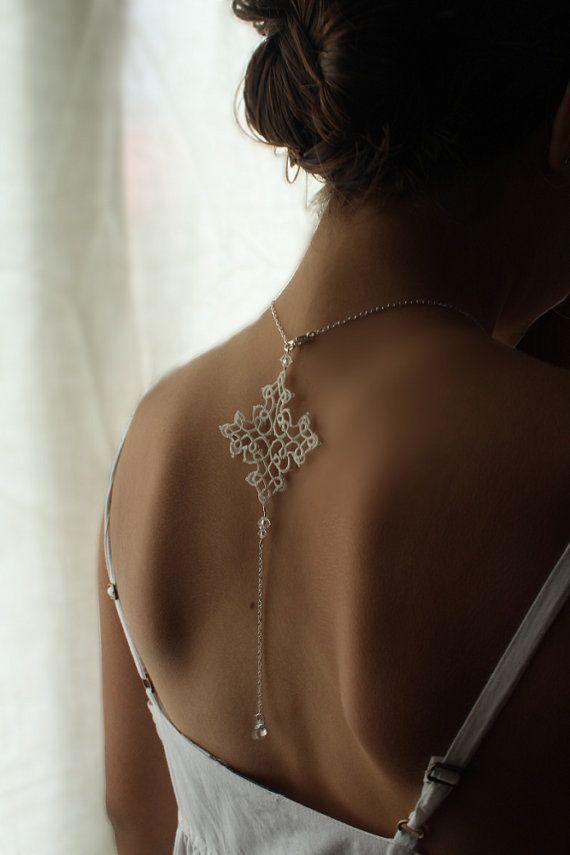 Collana da sposa schiena pizzo gioielli di AFrenchRomance su Etsy