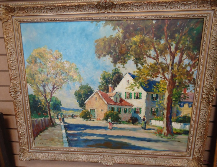 Frances H. McCay coastal village scene oil painting.  Check them out at The Corner Shoppe, 27 Calendar Ave, LaGrange, IL 708-579-2425