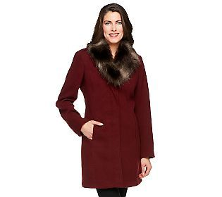 We highly recommend this Dennis Basso Faux Wool Coat. The Removable Faux Fox Fur Collar give the coat an elegant look!