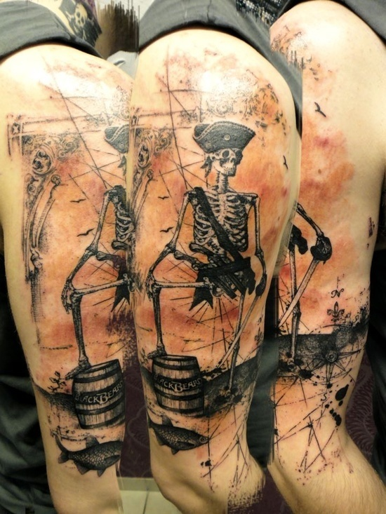 Pirate Skeleton Tattoo by Xoil