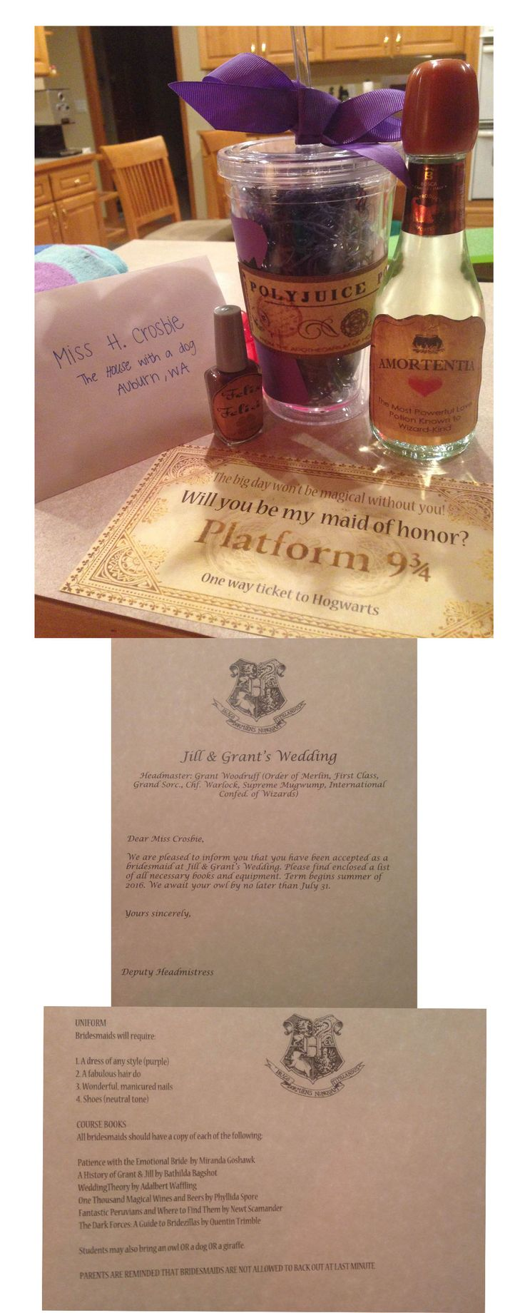 Asking bridesmaids to be in your wedding? Try a Harry Potter inspired proposal, complete with an acceptance letter, supplies list, and three potions!