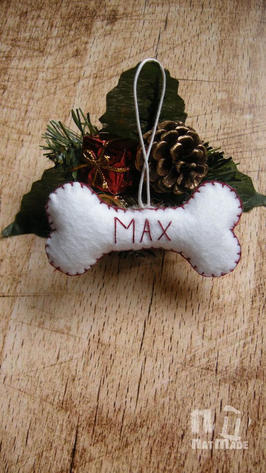 Personalised Dog bone ornament, Felt dog bone Christmas ornament, Red White Dog…
