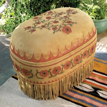 Ottoman...design painted on deer suede, circled in fringe...I could really fall in love with this!