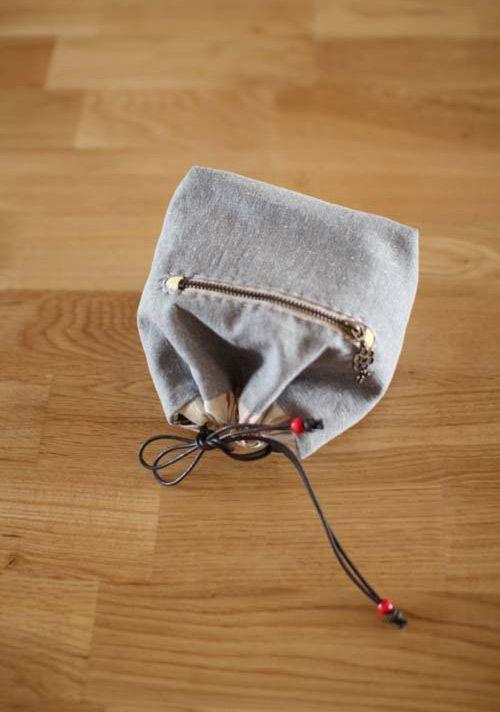 Handmade drawstring lunch box bag, handbag, small bag