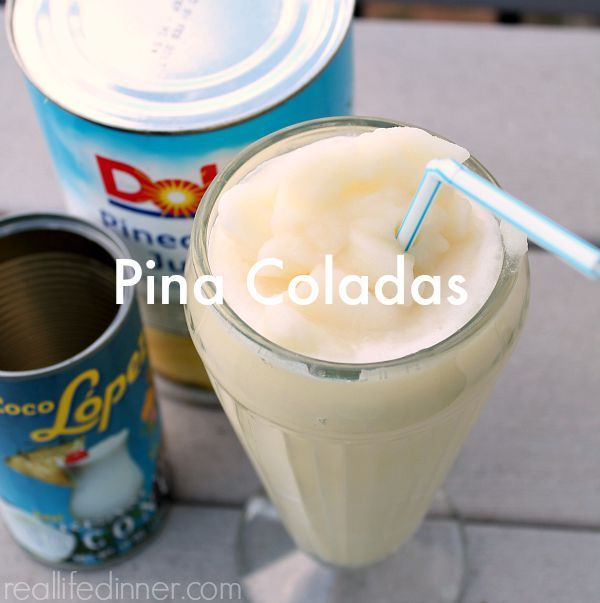 Pina Coladas {non-alcoholic} Recipe Beverages with pineapple juice, cream of coconut, ice