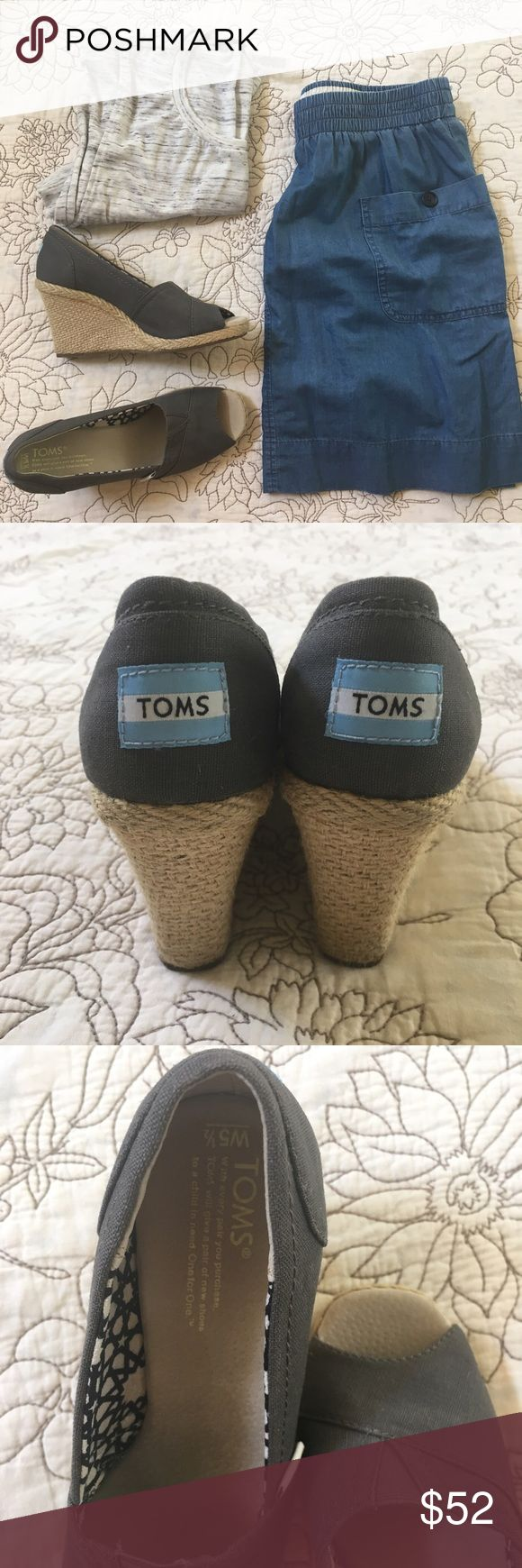 TOMS Grey Peep Toe Wedges - 5.5 Classic TOMS wedges! So freaking cute, and these are in practically perfect condition. Canvas upper, jute sides. Some wear on bottom from my sister in law wearing them (only once!). Perfectly clean, ready to rock the dance floor or date night. 💃🏼 Toms Shoes Wedges