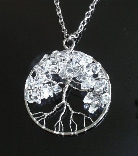 Amulet KŘIŠŤÁLOVÝ STROM ŽIVOTA - chirurgická ocel #kristal #amulet #strom #handmade #privesek #ocel