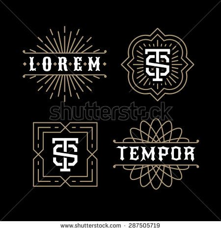 classic luxury golden art deco linear monochrome minimal hipster geometric vintage vector monogram, frame , border , label  for your logo badge or crest - stock vector