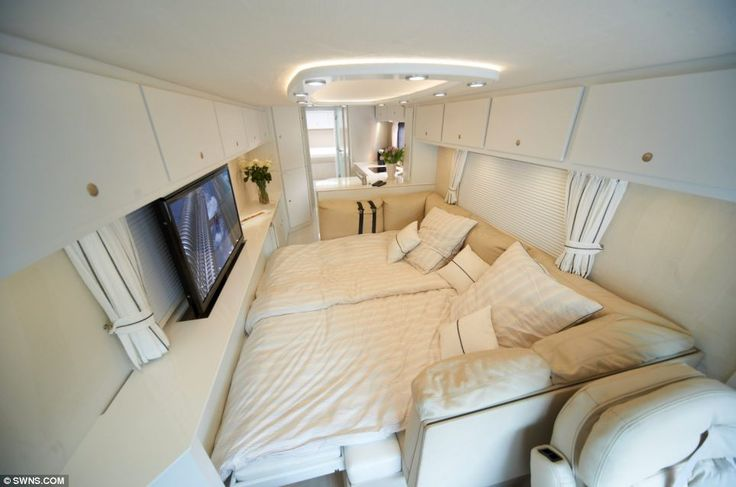 Luxury: Buyers can order the sumptuous interior of their choice. This one's bedroom (pictured) features a wide screen television