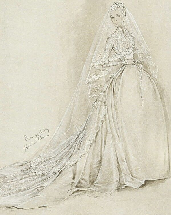 """Wedding Dress for Grace Kelly (Sketch)  Helen Rose 1956 Movie actress Grace Kelly, a Philadelphia native, wore this wedding dress for her marriage to Prince Rainier III in the cathedral of Monaco on April 19,1956; Academy Award-winning designer Helen Rose, who had created Kelly's costumes for the films High Society and The Swan, was chosen to design the gown, which was constructed by the MGM wardrobe department. In style and detail the dress was conceived to complement the """"fairy-princess""""…"""