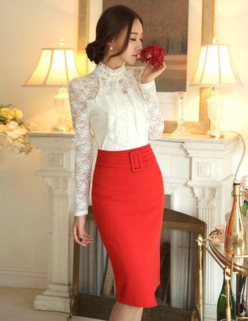 Styleonme_Slit-Front Belt Set Skirt #beltskirt #skirt #pencilskirt