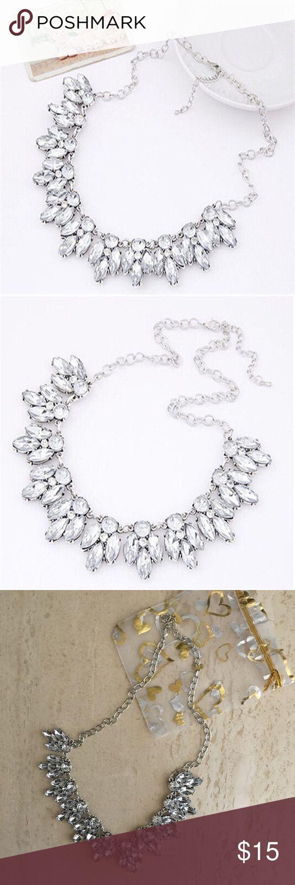 Rhinestone statement necklace Silver crystal statement necklace. Adjustable length. Jewelry Necklaces