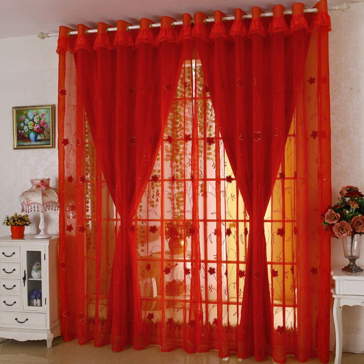 Double Layer Custom Made Cortinas Red Curtains Embroidery Gauze Living Room  Joyous Wedding Eco Friendly Part 97