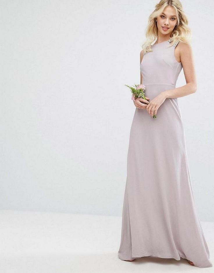Wedding High Neck Maxi Dress With Embellished Low Back Mauve