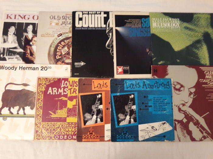 Heleboel 10 jazz en blues vinyl - Glenn Miller; Woody Herman King Oliver oude vrolijk verhaal jazz band Count Basie (2 LP set) 4 x LOUS Armstrong (3 zeer zeldzame 10 ') Milt Jackson  Glenn Miller: Collector BBs keuze [geen jaartal (1976) ons harmonie HS 11393]; Omslag: vg  / vinyl: vg .Woody Herman: 20:30 [1976 Polen Poljazz Z-SX 618]; Dekking (moet gevezen): vg  / vinyl: vg  (dicht bij exKing Oliver: King Oliver [1985 Italië reuzen van jazz LPJT 21]; Omslag: vg  / vinyl: vg .Oude vrolijk…