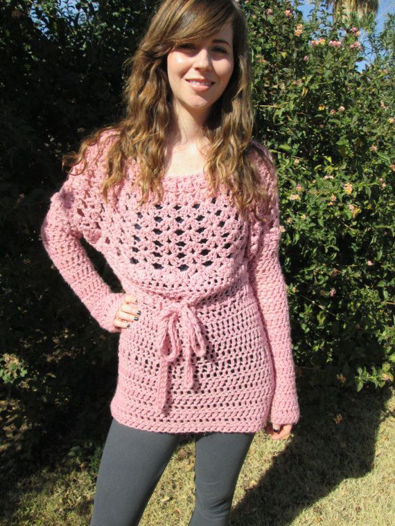 boho hippie crochet mauve sweater by sand951 on Etsy, $54.00