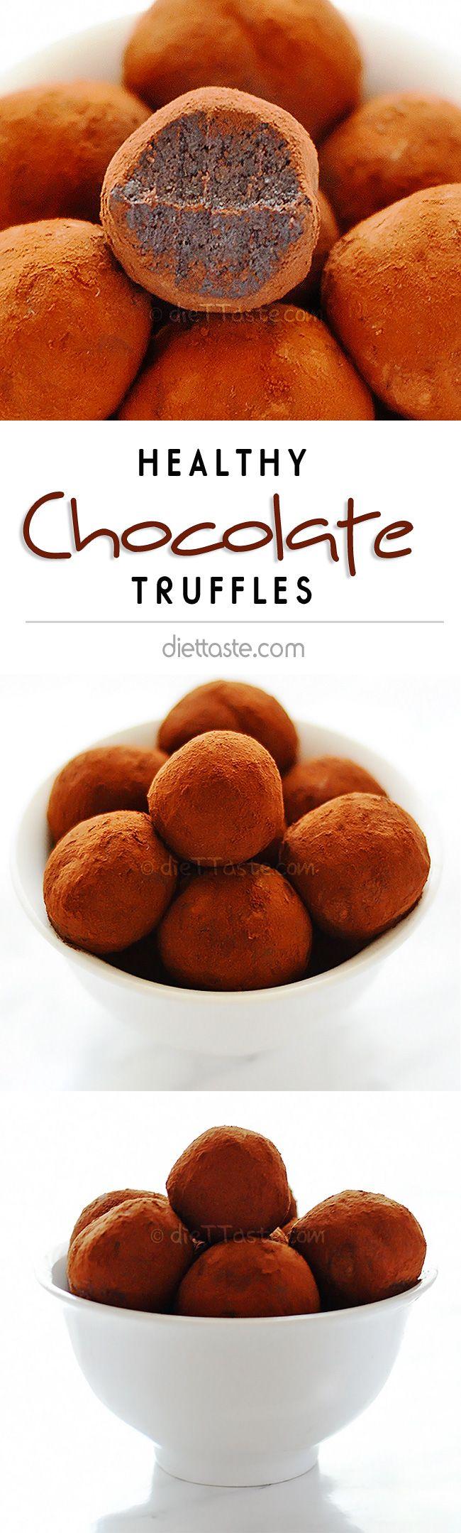 Healthy Chocolate Truffles - super easy dessert, ready in 1 minute - diettaste.com