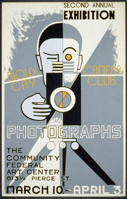 Sioux City Camera Club - wpa, federal art project, art, photography, vintage, vintage posters, retro prints, classic posters, graphic design, free download, Sioux City Camera Club Photographs, The Community Federal Art Center - Vintage Photography Exhibition Poster