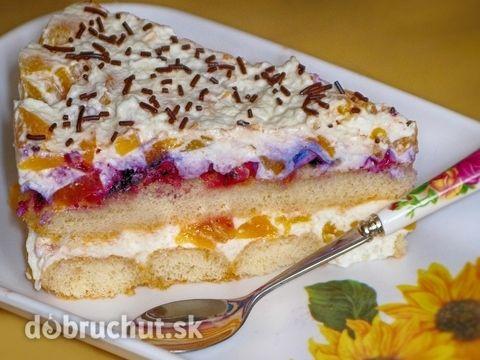 Smotanovo-ovocná nepečená torta