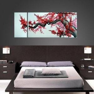 Chinese cherry blossom painting: cherry blossom represents rebirth and is a symbol of Life. The Chinese cherry blossom painting creates a balance in the Yin/Yang energies of Chi, bringing harmony and success. Hand painted by Feng Shui master