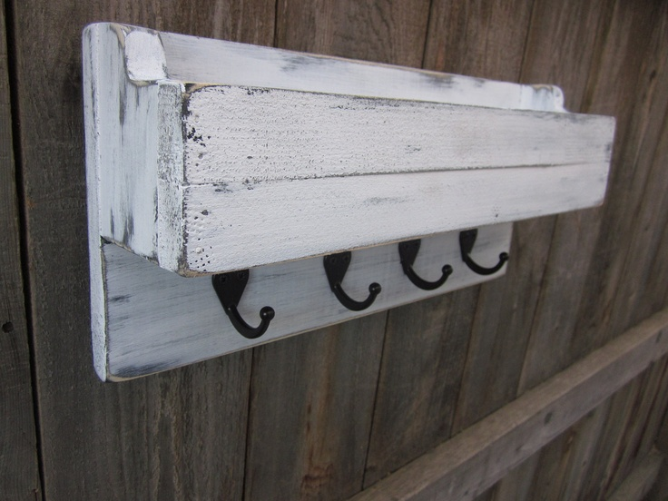 Mail Holder, Key Holder, Organizer, Distressed and Rustic Home Decor, Laundry Room Decor, 16 inches, Shabby Chic-Sleek