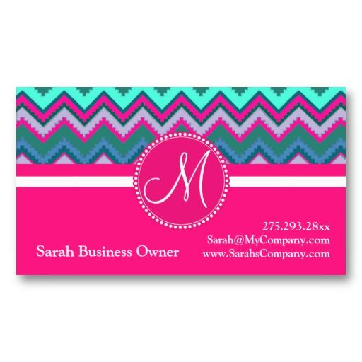 19 best native american business cards images on pinterest monogram aqua teal blue pink tribal chevron zigzag business cards colourmoves Choice Image