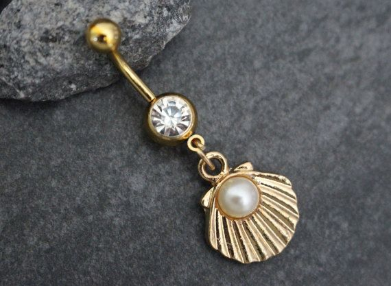 Pearl Belly Ring Belly Button Rings Gold Navel Ring by MyBodiArt
