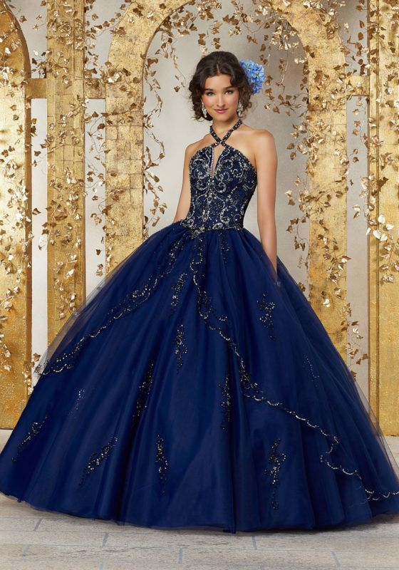 5b1d385610b Two-Piece Gown with Beaded Lace on Net Top and Ballgown Skirt ...