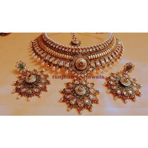 wedding spl broad pearl and stone necklace set