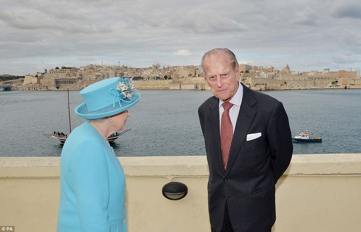 Looking at the sights: The Queen also used the visit to address the Maltese people and to look out at the harbour with her husband