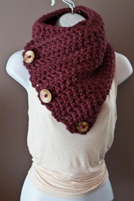 Coconut Button Crochet Cowl cuello al crochet con botones