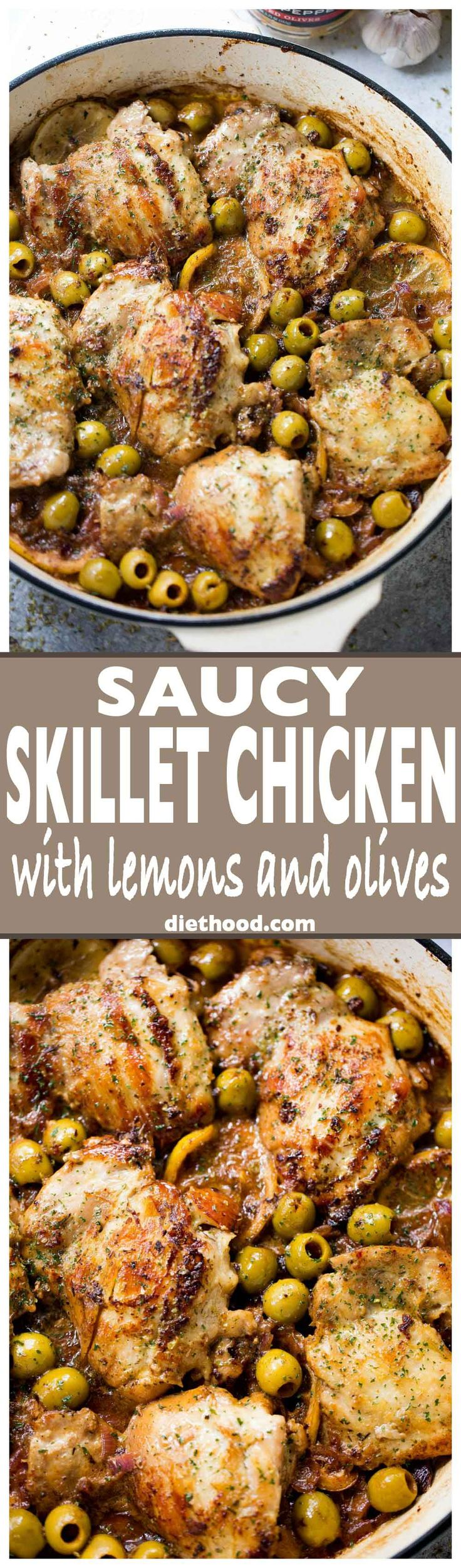 Saucy Skillet Chicken with Lemons and Olives - Delicious pan seared chicken thighs prepared with olives, lemons, and red wine.