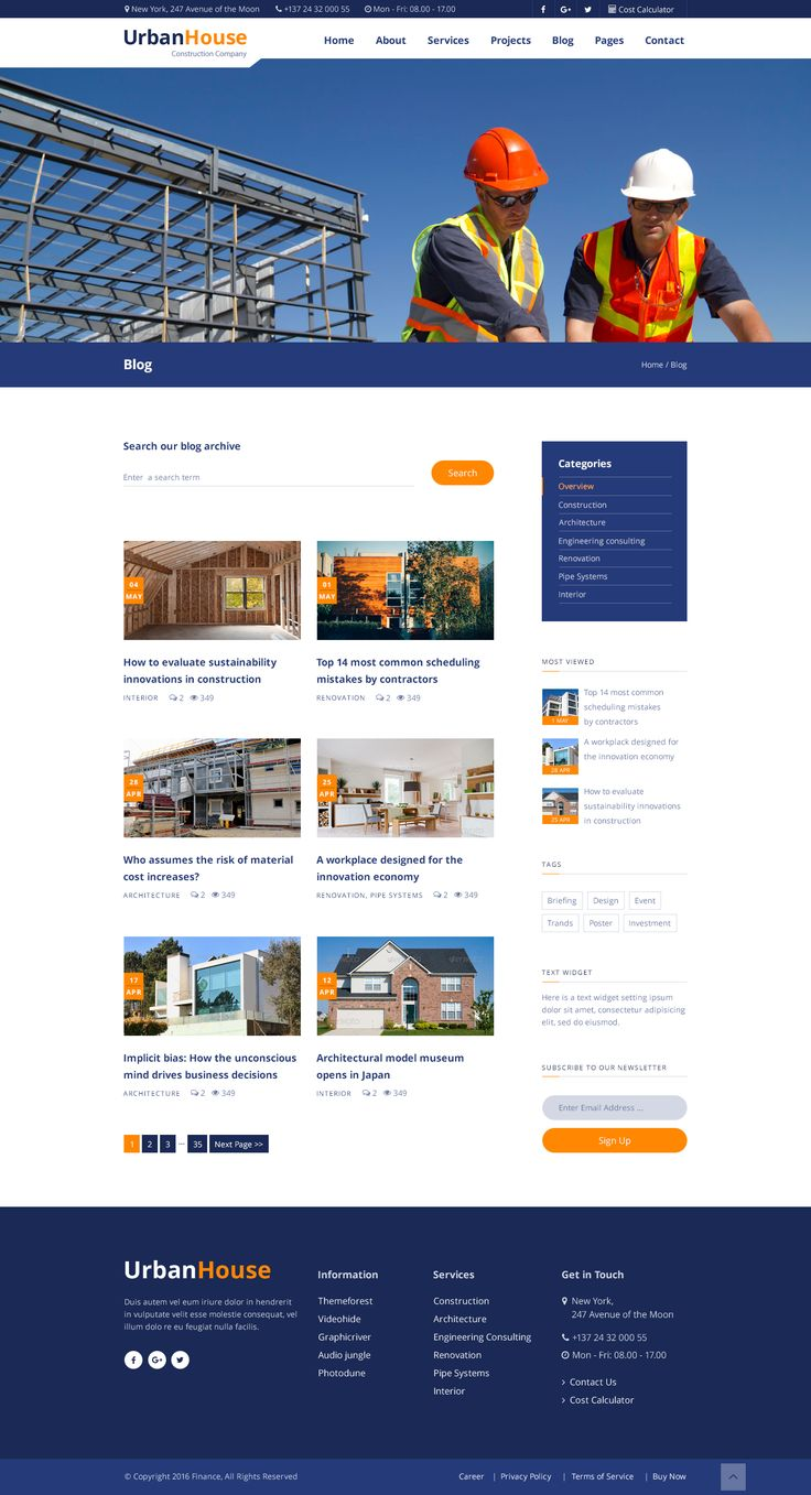 Construction website. Blog page.  https://themeforest.net/item/urbanhouse-construction-building-company-psd-template/18683833