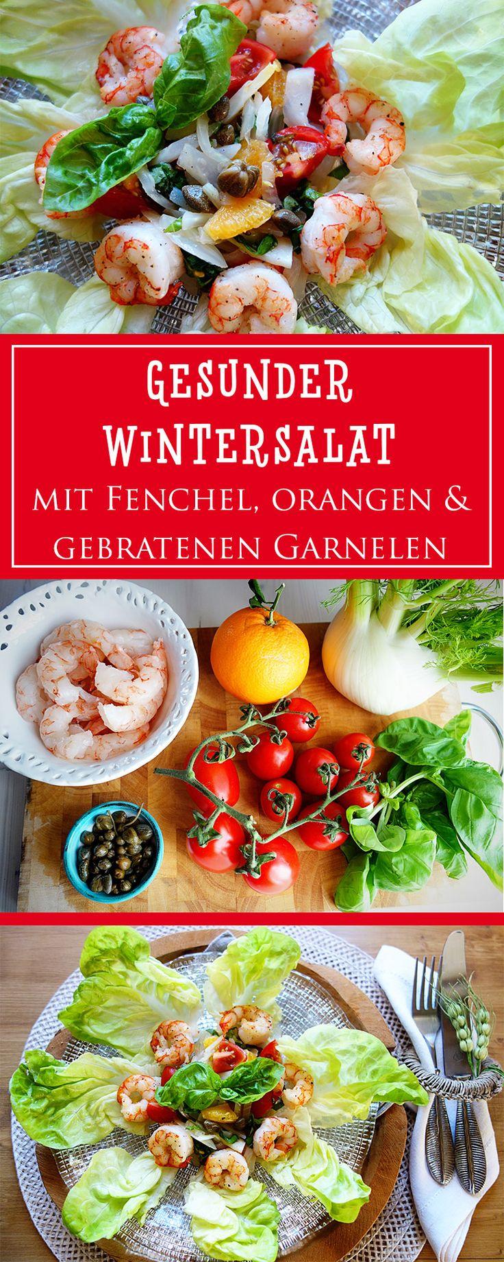 Wintersalat mit Orangen, Fenchel und gebratenen Garnelen - ein einfaches, gesundes Rezept aus bella Italia, das beeindruckend und unglaublich lecker ist! | cucina-con-amore.de